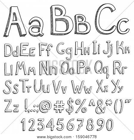 English alphabet for the youngest children on a white background