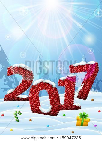 New Year 2017 in shape of knitted fabric in snow. Winter landscape with year number top lighting. Vector illustration for new years day christmas winter holiday knitting new years eve silvester