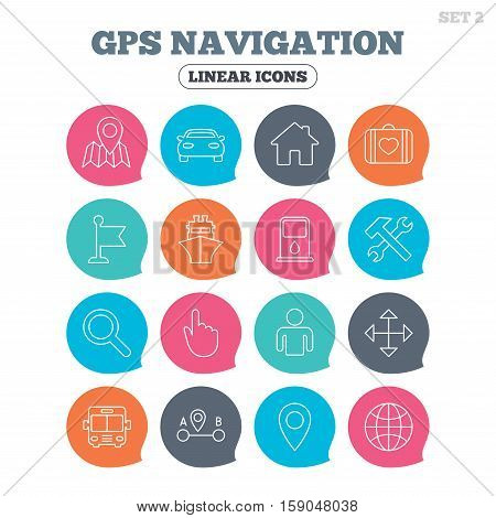 GPS navigation icons. Car, Bus and Ship transport. You are here, map pointer symbols. Search gas or petrol stations, hotels. A to B distance. Flat speech bubbles with linear icons. Vector