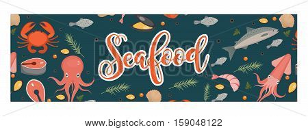 Sea food horizontal banner, flat style. Seafood template for your design. Underwater world, sea life. Vector illustration