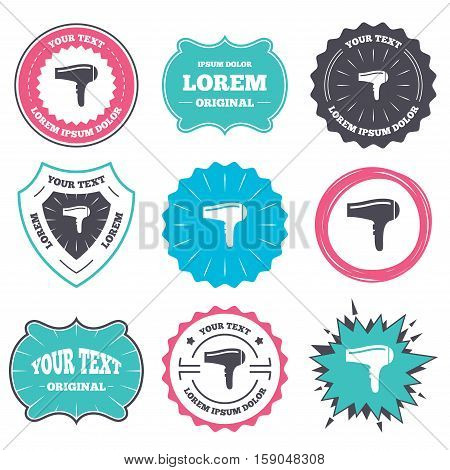 Label and badge templates. Hairdryer sign icon. Hair drying symbol. Retro style banners, emblems. Vector
