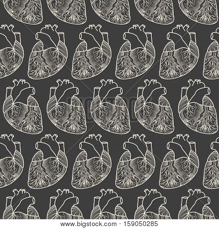 Seamless Pattern Made Of Anatimic Hearts On Grey Background