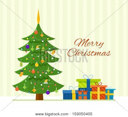 Merry Christmas. The atmosphere of the new year, Christmas tree decorated with toys and garlands, Christmas gifts and wishes. Vector illustration. Can be used as banners, materials.