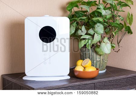 air humidifier with lemons on a wooden background