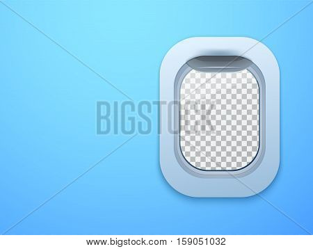 Aircraft window. Plane porthole isolated with place for your text. Vector illustration.