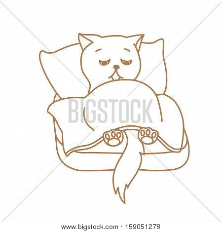 Cute Cat Character Lying In Bed Tired Or Ill