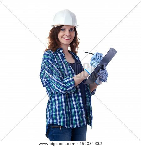 Smiling young woman in casual clothes over white isolated background in white helmet with clipboard, education, construction and architecture concept