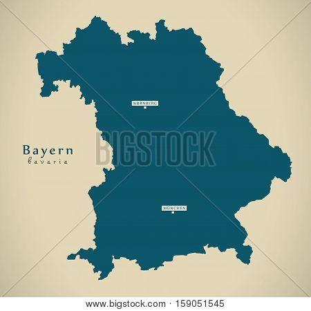 Modern Map - Bayern DE Germany illustration