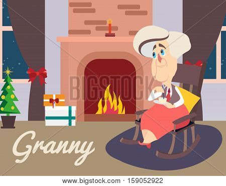 Vector illustration of grandmother sitting in armchair near fireplace. Granny lettering. Comic cartoon character.