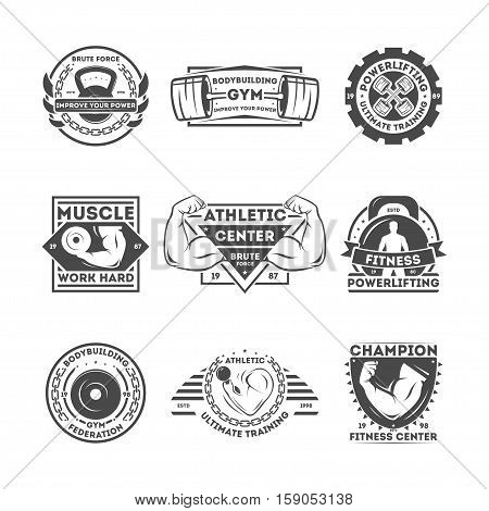 Fitness center vintage isolated label vector illustration. Athletic ultimate training concept. Bodybuilding gym symbol. Powerlifting icon. Athletic center logo. Fitness federation sign.