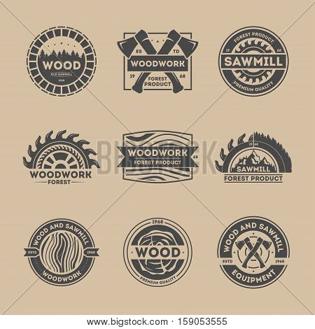 Forest product vintage isolated label set vector illustration. Woodwork symbol. Premium quality icon. Wood and sawmill equipment logo. Wood, axe, saw, tree sign. Wood industry, sawmill service concept