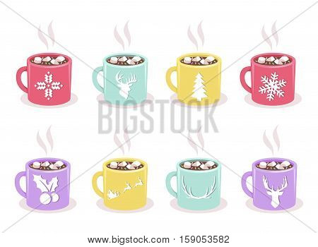 Vector set of color mugs with hot cocoa, marshmallow, winter holidays symbols, isolated on white background. Christmas and New Years design elements for cafe, coffee shop, greeting card, invitation.