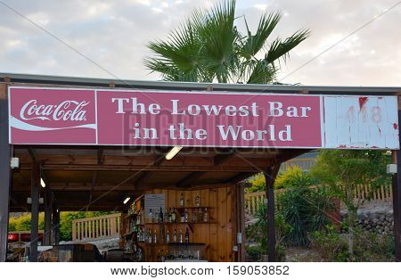 DEAD SEA ISRAEL 27 10 16: Beach bar with the sign