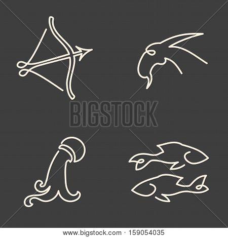 One Line Zodiac Symbols Set - Sagittarius, Capricorn, Aquarius, Pisces