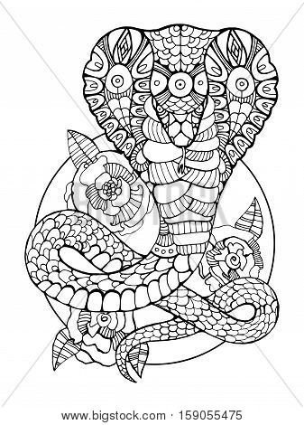 Cobra snake coloring book for adults vector illustration. Anti-stress coloring for adult. Tattoo stencil. Black and white lines. Lace pattern