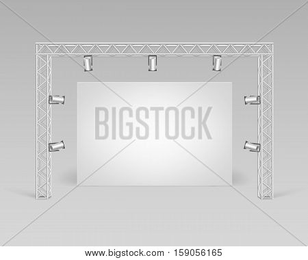 Vector Empty Blank White Mock Up Poster Picture Standing on Floor with Spotlights Illumination Front View