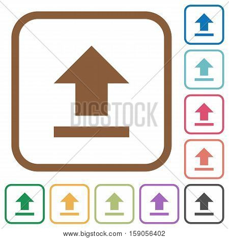 Upload simple icons in color rounded square frames on white background