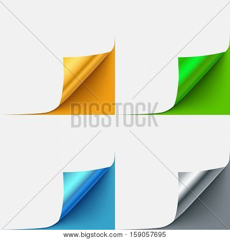 Set of colorful curled vector paper corners for advertising and sale promo. Book, brochure curled page.