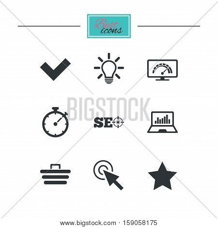 Internet, seo icons. Bandwidth speed, online shopping and tick signs. Favorite star, notebook chart symbols. Black flat icons. Classic design. Vector