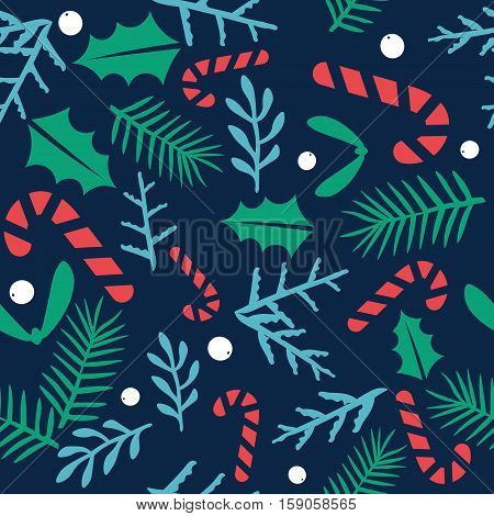 Vintage Merry Christmas And Happy New Year seamless pattern background. Berries sprigs and leaves stylish vector illustration on winter greeting card. Good for cards posters and banner design