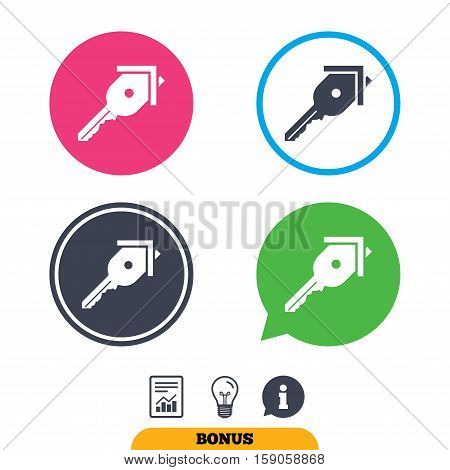 Key from the house sign icon. Unlock tool symbol. Report document, information sign and light bulb icons. Vector