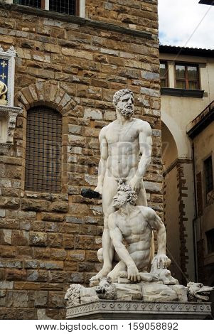 Ercole Caco sculpture in Florence, Toscana. Italy