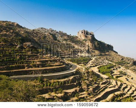 View to Manakha fortress and old city and terrace farming Yemen