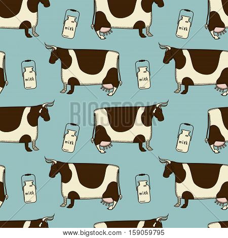 simple parretn with cute cows and milk cans on a blue background