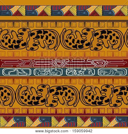 Seamless ethnic texture with leopard. tribal style