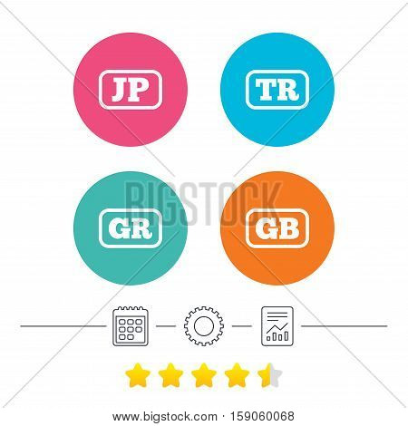 Language icons. JP, TR, GR and GB translation symbols. Japan, Turkey, Greece and England languages. Calendar, cogwheel and report linear icons. Star vote ranking. Vector