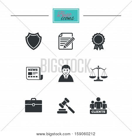 Lawyer, scales of justice icons. Clients, auction hammer and law judge symbols. Newspaper, award and agreement document signs. Black flat icons. Classic design. Vector