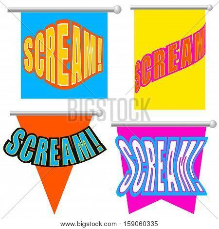 Set Cartoon scream! isolated on white background