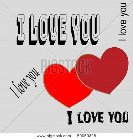 Heart Two With Quote I Love You Card. Red Sign On Gray Background. Romantic