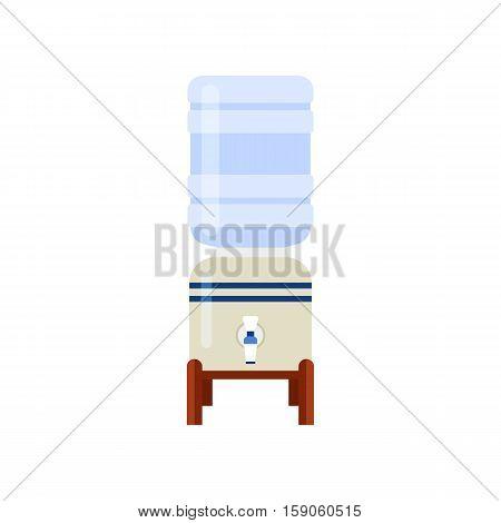 Table water cooler and bottle. Modern flat illustration