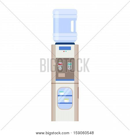 Water cooler with a fridge and bottle. Modern flat illustration isolated on white background