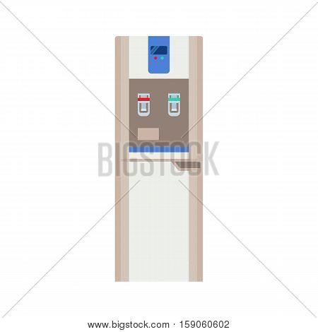 Water cooler with bottom loading bottle. Modern flat illustration isolated on white background