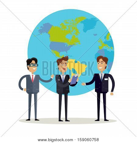 Business people in business suit and tie stands on a background with planet. Smiling business man. Business trip. Flat design vector illustration