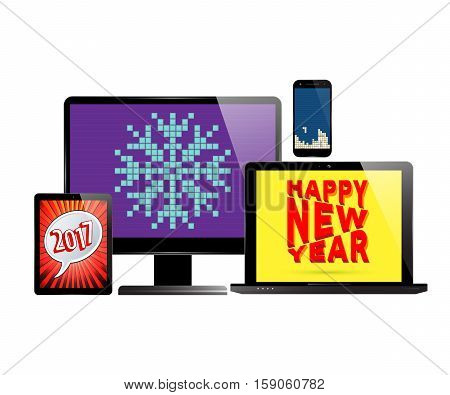 New Year 2017. Monitor PC computer, laptop, smartphone and tablet with various screen savers. Vector illustration.