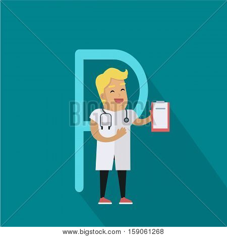 Science alphabet. Letter - P. Scientists medic with stethoscope and tablet. Simple colored letters and scientist character. Scientific research, science lab, science test, technology illustration
