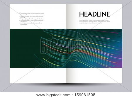 Business brochure design layout template, abstract lines, eps10 vector