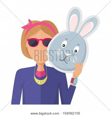 Woman in sunglasses with rabbit or hare mask in hand flat vector illustration isolated on white background. Masquerade animal clothing and party costume. Psychological portrait and hidden personality