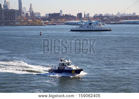 New York, United States of America - November 18, 2016: A New York City Police Department boat patrolling in the East River