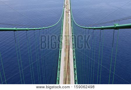 Mackinac Bridge photographed from the top of the south tower