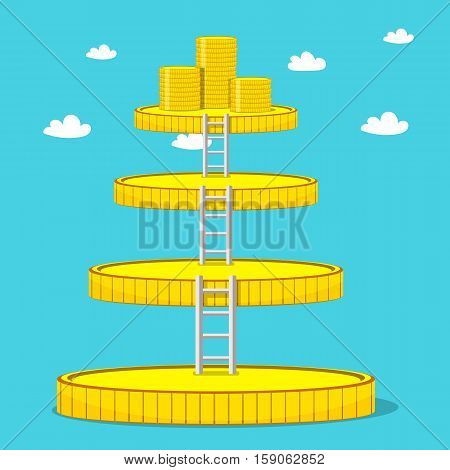 Stairs of gold coins with stacks of coins on top. Growing business concept. Vector illustration