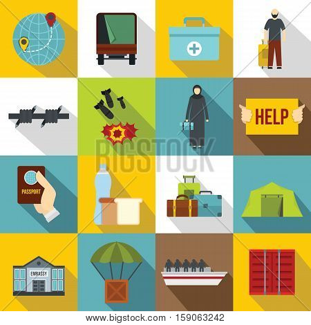 Refugees problem icons set. Flat illustration of 16 refugees problem vector icons for web