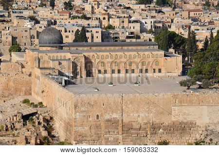 JERUSALEM ISRAEL 26 10 16: Panoramic view of Al-Aqsa Mosque, also known as Al-Aqsa and Bayt al-Muqaddas, is the third holiest site in Sunni Islam and is located in the Old City of Jerusalem.