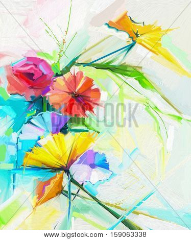 Abstract oil painting of spring flower. Still life of yellow, pink and red poppy. Colorful bouquet flowers with light yellow, green and blue background. Hand Painted floral Impressionist style