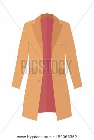 Vector illustration green brown winter, autumn coat or trench coat. Double breasted coat isolated on white