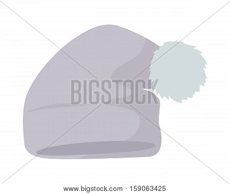 Warm grey hat with pompon vector. Flat design.