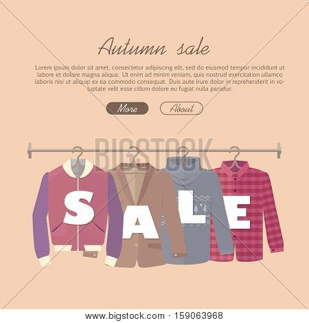 Autumn sale vector web banner. Flat design. Men s jacket, coat, sweater, warm shirt hanging on the hangers. Seasonal discounts in clothing store concept. For boutique promotions landing page design
